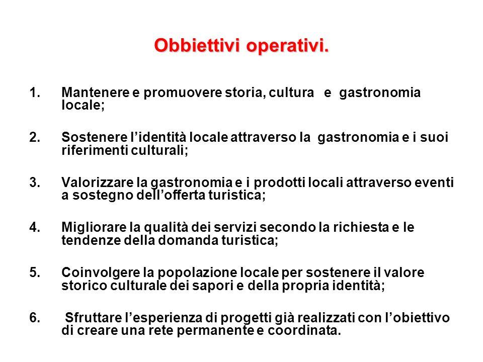 Obbiettivi operativi. 1.Mantenere e promuovere storia, cultura e gastronomia locale; 2.Sostenere lidentità locale attraverso la gastronomia e i suoi r