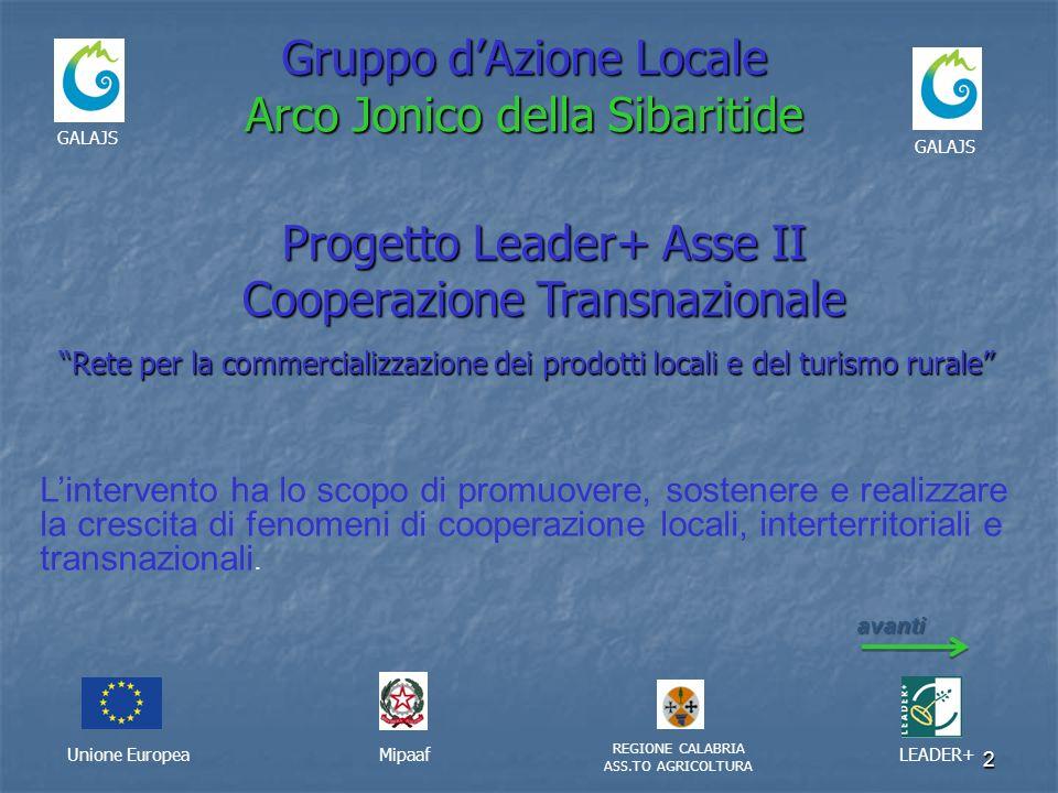 2 Gruppo dAzione Locale Arco Jonico della Sibaritide Unione EuropeaMipaaf REGIONE CALABRIA ASS.TO AGRICOLTURA LEADER+ GALAJS Progetto Leader+ Asse II