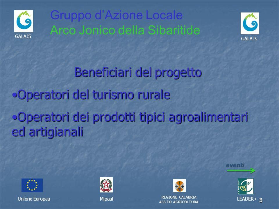 3 Unione EuropeaMipaaf REGIONE CALABRIA ASS.TO AGRICOLTURA LEADER+ GALAJS Beneficiari del progetto Operatori del turismo ruraleOperatori del turismo r