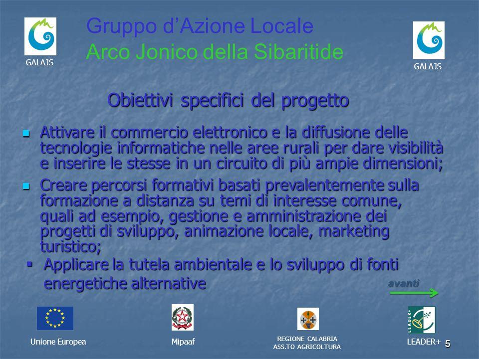 5 Unione EuropeaMipaaf REGIONE CALABRIA ASS.TO AGRICOLTURA LEADER+ GALAJS Gruppo dAzione Locale Arco Jonico della Sibaritide Obiettivi specifici del p