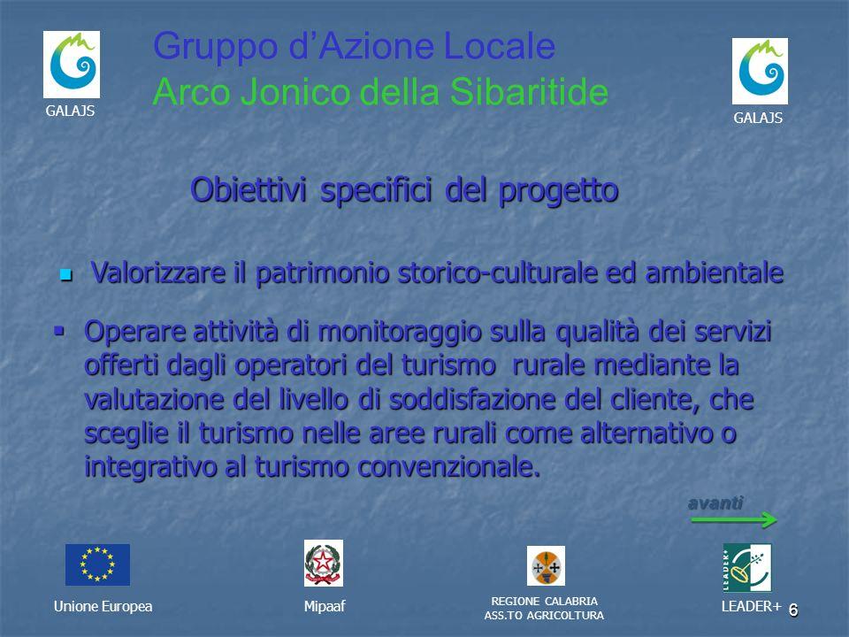 6 Unione EuropeaMipaaf REGIONE CALABRIA ASS.TO AGRICOLTURA LEADER+ GALAJS Gruppo dAzione Locale Arco Jonico della Sibaritide Obiettivi specifici del p