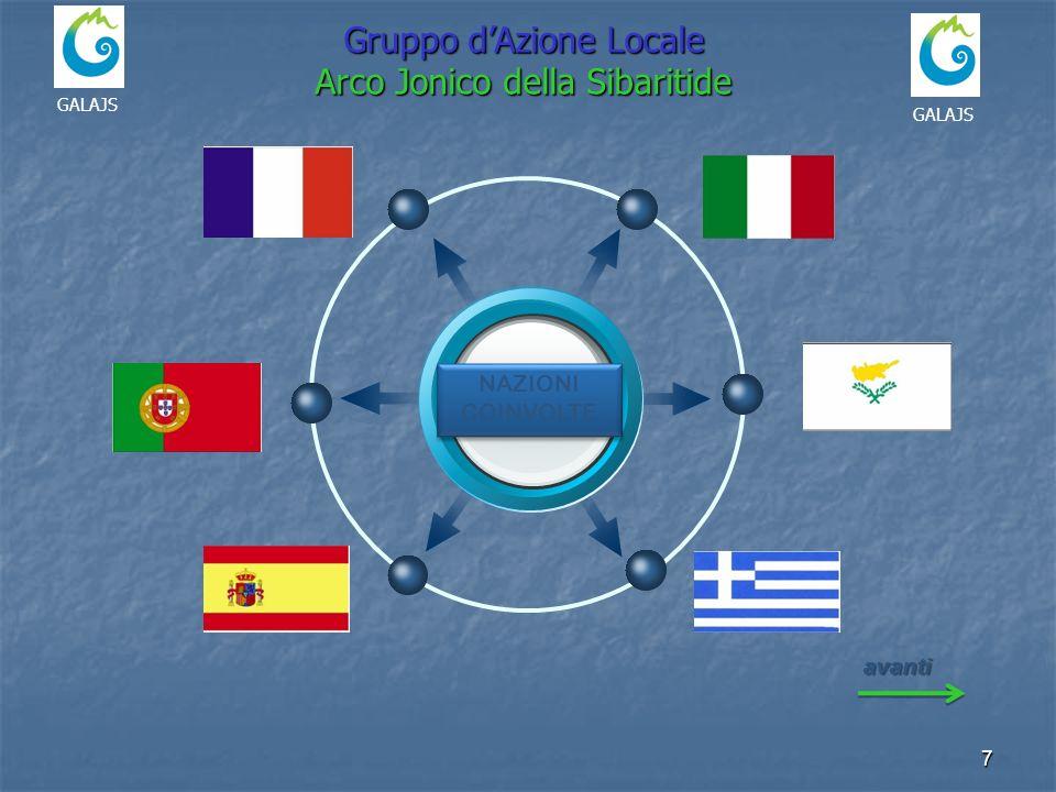 7 NAZIONI COINVOLTE avanti GALAJS Gruppo dAzione Locale Arco Jonico della Sibaritide