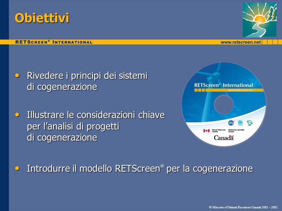 © Minister of Natural Resources Canada 2001 – 2005. Obiettivi Rivedere i principi dei sistemi Rivedere i principi dei sistemi di cogenerazione Illustr