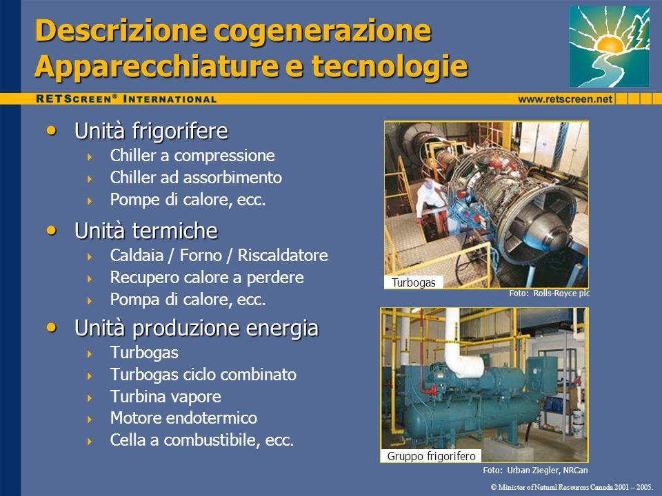 © Minister of Natural Resources Canada 2001 – 2005. Descrizione cogenerazione Apparecchiature e tecnologie Unità frigorifere Unità frigorifere Chiller
