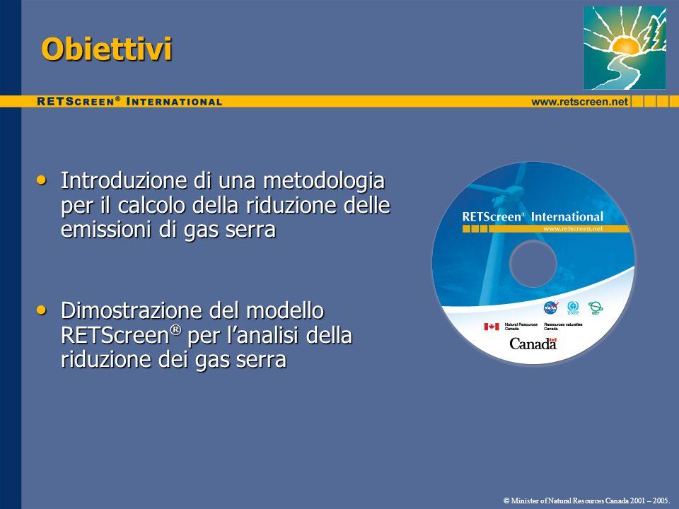 Obiettivi Introduzione di una metodologia per il calcolo della riduzione delle emissioni di gas serra Introduzione di una metodologia per il calcolo d