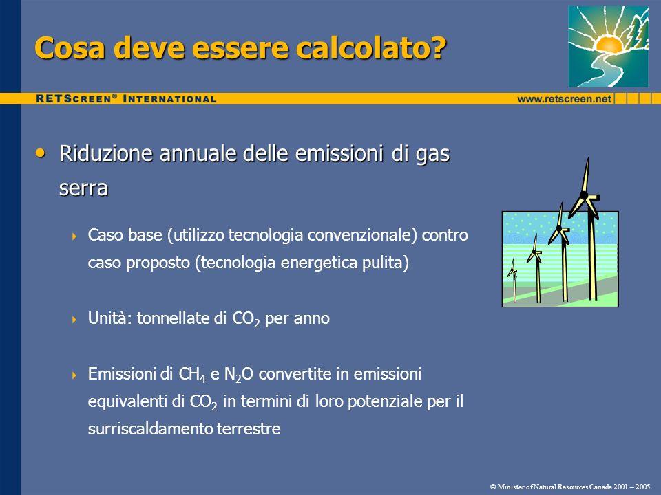 Cosa deve essere calcolato? Riduzione annuale delle emissioni di gas serra Riduzione annuale delle emissioni di gas serra Caso base (utilizzo tecnolog