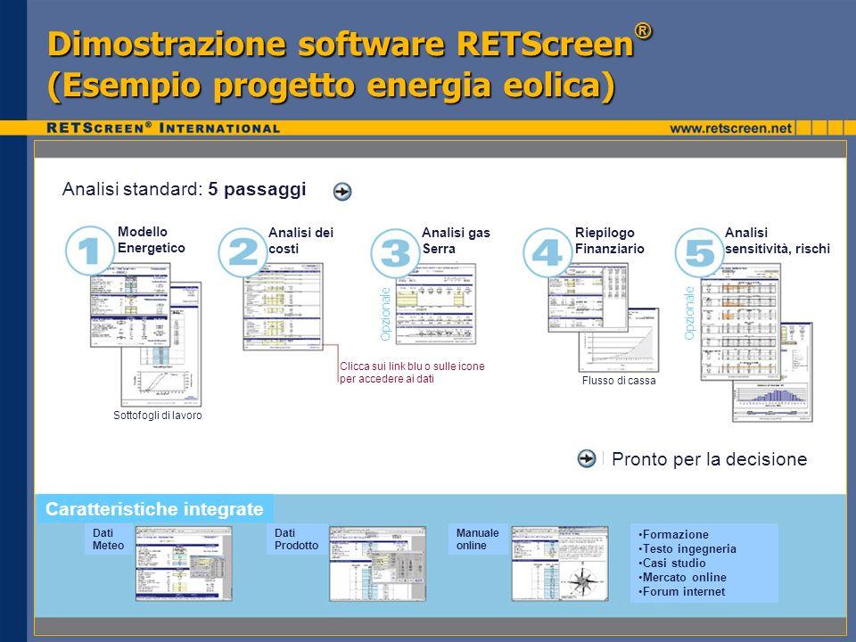 Dimostrazione software RETScreen ® (Esempio progetto energia eolica) Analisi standard: 5 passaggi Pronto per la decisione Modello Energetico Analisi d