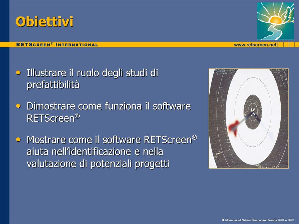 Obiettivi Illustrare il ruolo degli studi di prefattibilità Illustrare il ruolo degli studi di prefattibilità Dimostrare come funziona il software RET