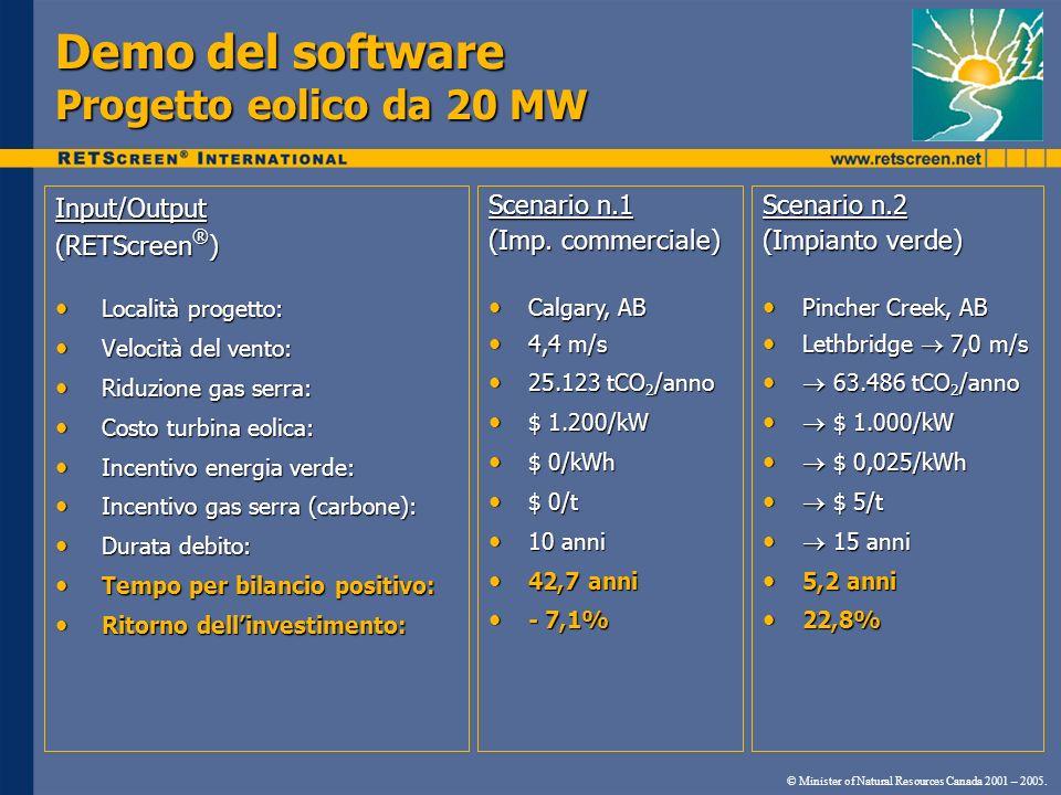 Demo del software Progetto eolico da 20 MW Input/Output (RETScreen ® ) Località progetto: Località progetto: Velocità del vento: Velocità del vento: R
