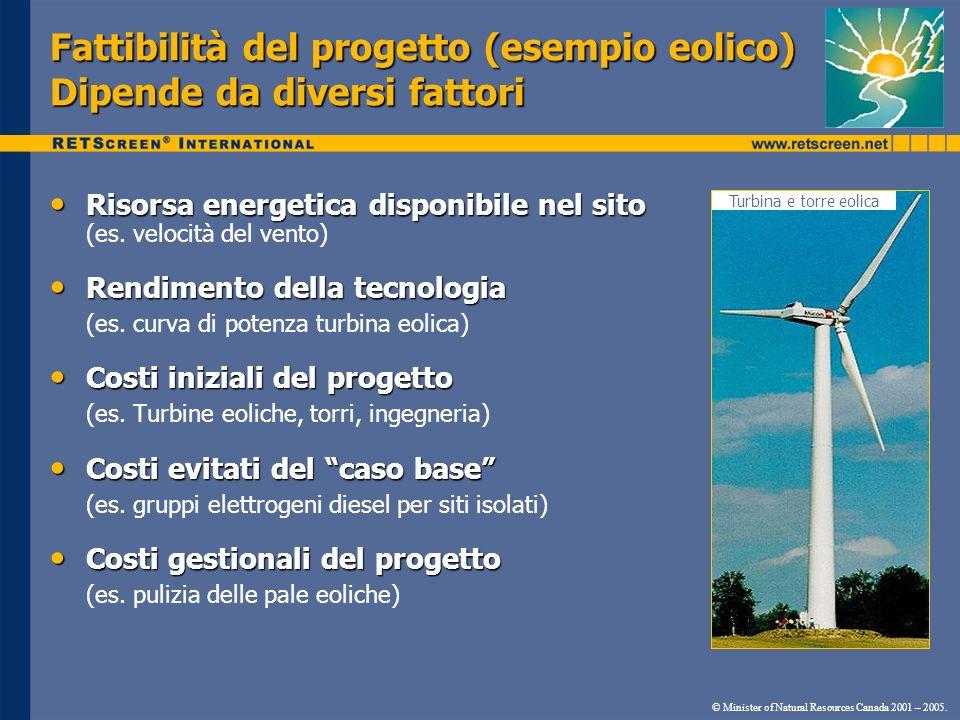 Fattibilità del progetto (esempio eolico) Dipende da diversi fattori Turbina e torre eolica © Minister of Natural Resources Canada 2001 – 2005. Risors