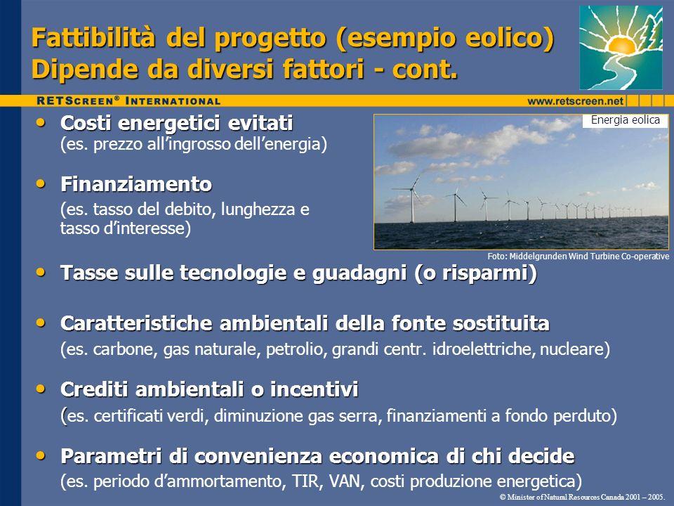 Costi energetici evitati Costi energetici evitati (es. prezzo allingrosso dellenergia) Finanziamento Finanziamento (es. tasso del debito, lunghezza e