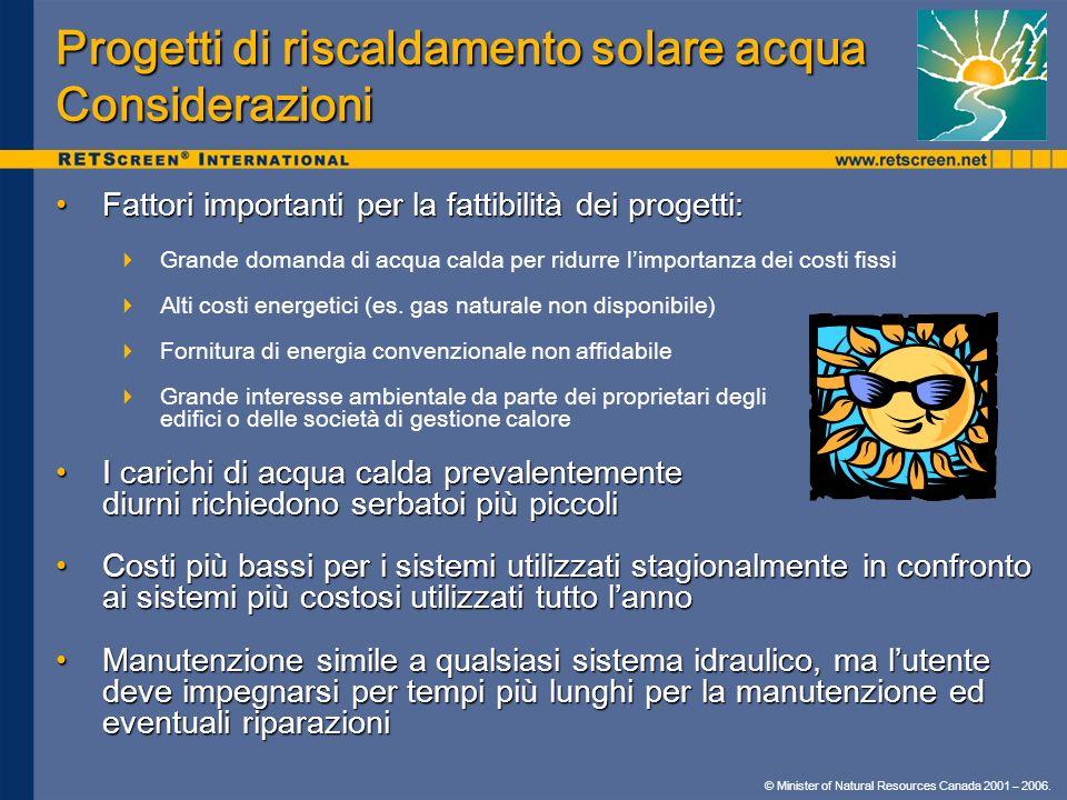 © Minister of Natural Resources Canada 2001 – 2006. Progetti di riscaldamento solare acqua Considerazioni Fattori importanti per la fattibilità dei pr