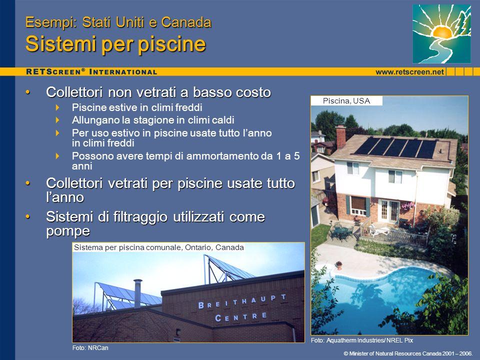 © Minister of Natural Resources Canada 2001 – 2006. Esempi: Stati Uniti e Canada Sistemi per piscine Collettori non vetrati a basso costoCollettori no