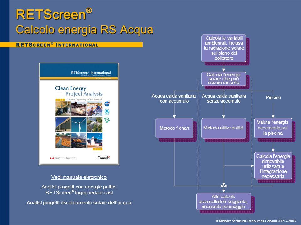 © Minister of Natural Resources Canada 2001 – 2006. Vedi manuale elettronico Analisi progetti con energie pulite: RETScreen ® Ingegneria e casi Analis