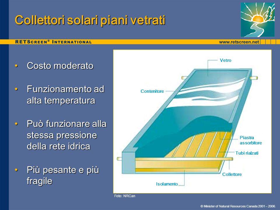 © Minister of Natural Resources Canada 2001 – 2006. Collettori solari piani vetrati Costo moderatoCosto moderato Funzionamento ad alta temperaturaFunz