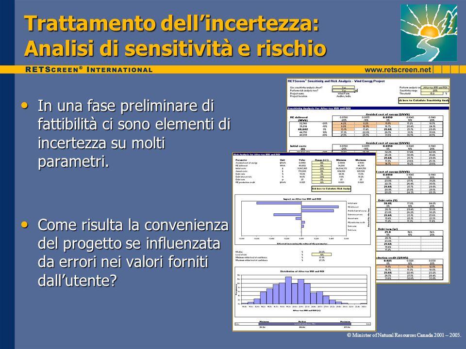 Trattamento dellincertezza: Analisi di sensitività e rischio In una fase preliminare di fattibilità ci sono elementi di incertezza su molti parametri.