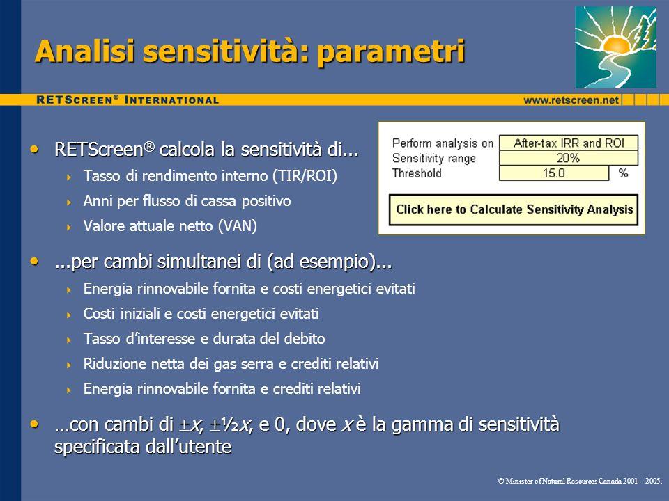Analisi sensitività: parametri RETScreen ® calcola la sensitività di... RETScreen ® calcola la sensitività di... Tasso di rendimento interno (TIR/ROI)