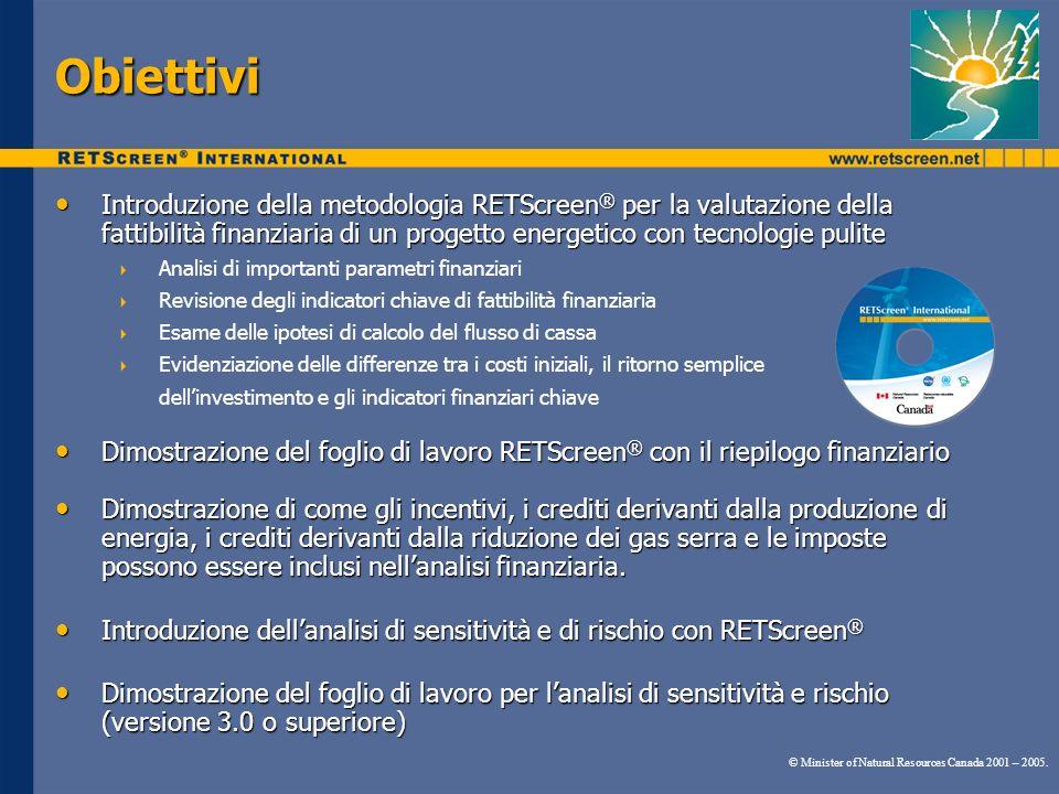 Obiettivi Introduzione della metodologia RETScreen ® per la valutazione della fattibilità finanziaria di un progetto energetico con tecnologie pulite