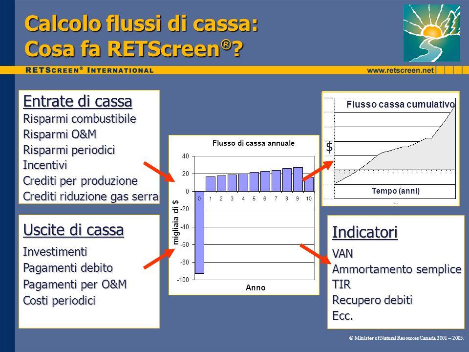 Calcolo flussi di cassa: Cosa fa RETScreen ® ? Flusso di cassa annuale -100 -80 -60 -40 -20 0 20 40 012345678910 Anno migliaia di $ Entrate di cassa R