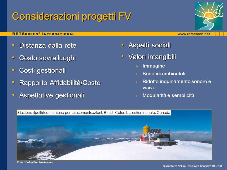 © Minister of Natural Resources Canada 2001 – 2006. Considerazioni progetti FV Distanza dalla rete Distanza dalla rete Costo sovralluoghi Costo sovral