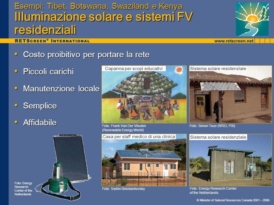 © Minister of Natural Resources Canada 2001 – 2006. Esempi: Tibet, Botswana, Swaziland e Kenya Illuminazione solare e sistemi FV residenziali Costo pr