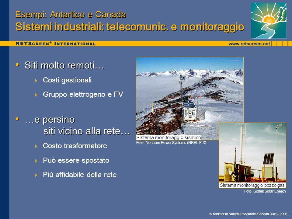 © Minister of Natural Resources Canada 2001 – 2006. Esempi: Antartico e Canada Sistemi industriali: telecomunic. e monitoraggio Siti molto remoti… Sit
