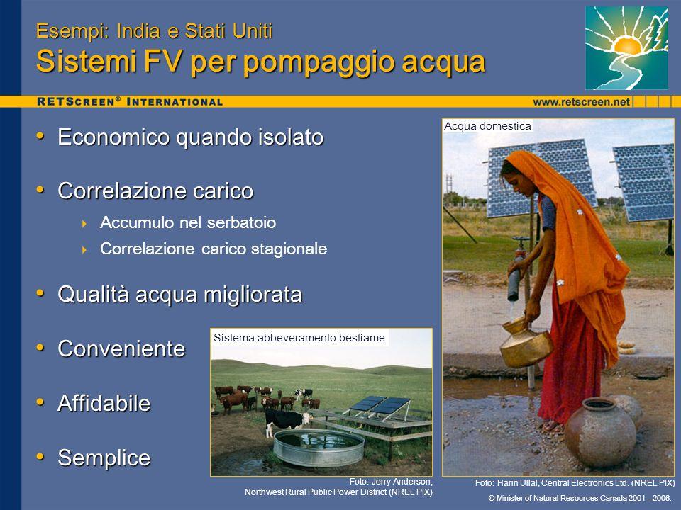 © Minister of Natural Resources Canada 2001 – 2006. Esempi: India e Stati Uniti Sistemi FV per pompaggio acqua Economico quando isolato Economico quan