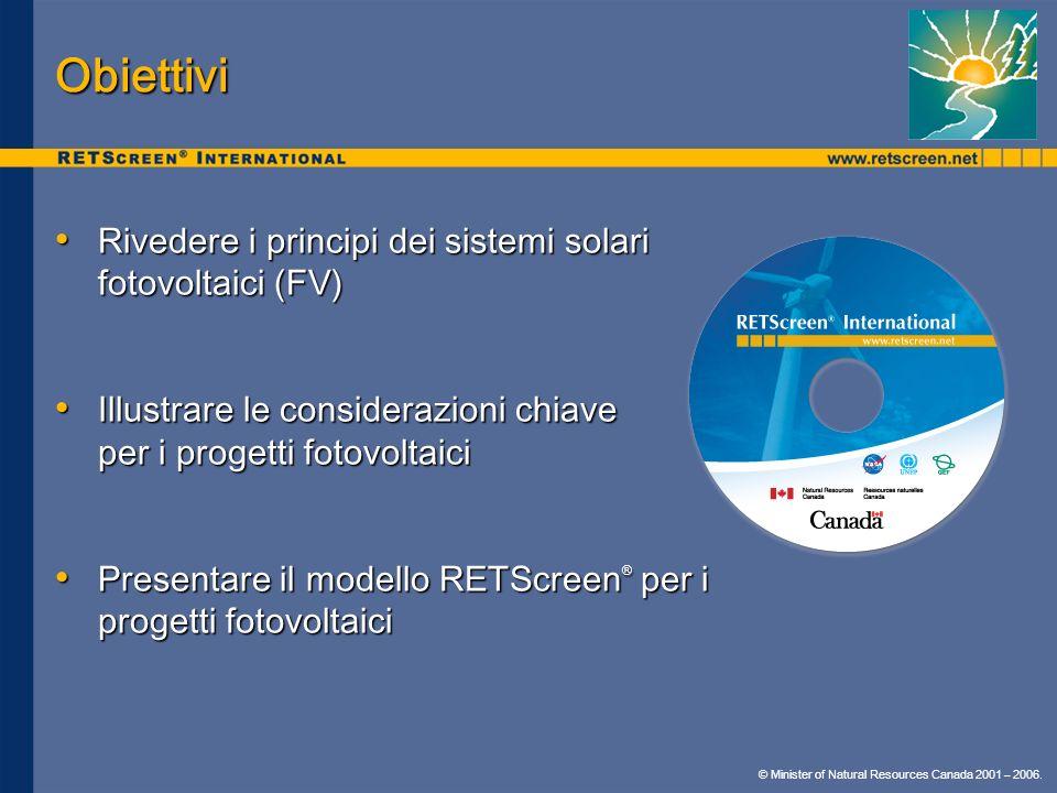 Obiettivi Rivedere i principi dei sistemi solari fotovoltaici (FV) Rivedere i principi dei sistemi solari fotovoltaici (FV) Illustrare le considerazio