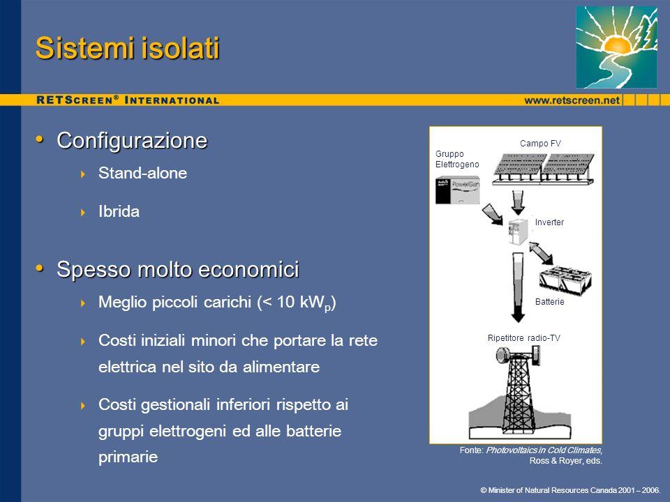 © Minister of Natural Resources Canada 2001 – 2006. Sistemi isolati Configurazione Configurazione Stand-alone Ibrida Spesso molto economici Spesso mol