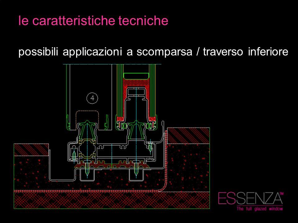 le caratteristiche tecniche possibili applicazioni a scomparsa / traverso inferiore