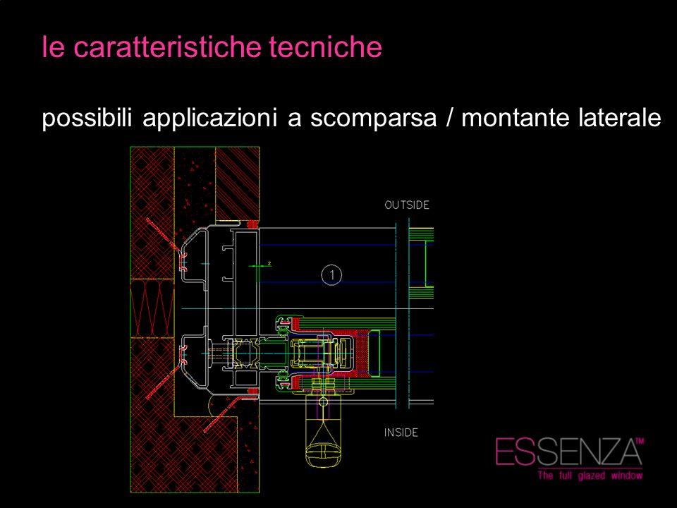 le caratteristiche tecniche possibili applicazioni a scomparsa / montante laterale