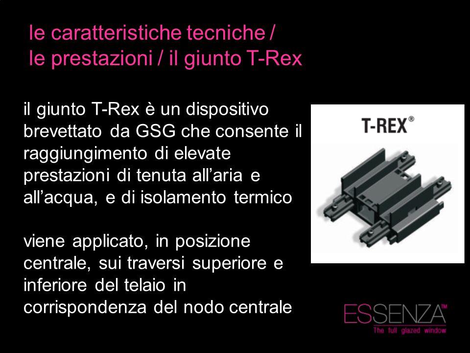 le caratteristiche tecniche / le prestazioni / il giunto T-Rex il giunto T-Rex è un dispositivo brevettato da GSG che consente il raggiungimento di el