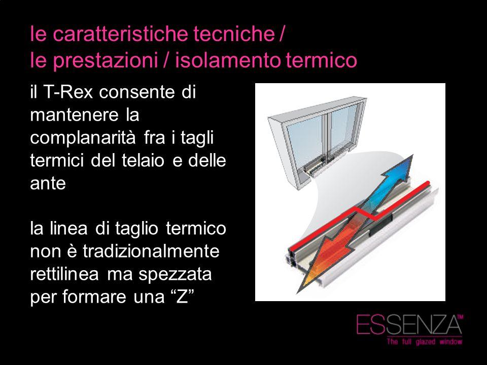 le caratteristiche tecniche / le prestazioni / isolamento termico il T-Rex consente di mantenere la complanarità fra i tagli termici del telaio e dell