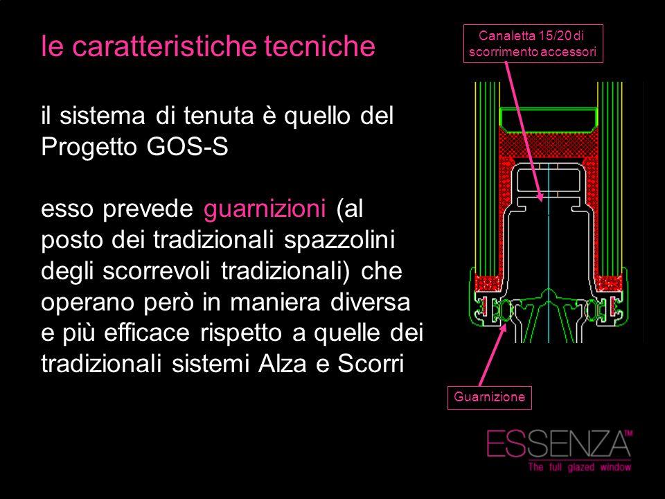 le caratteristiche tecniche il sistema di tenuta è quello del Progetto GOS-S esso prevede guarnizioni (al posto dei tradizionali spazzolini degli scor
