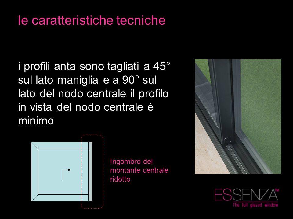 le caratteristiche tecniche i profili anta sono tagliati a 45° sul lato maniglia e a 90° sul lato del nodo centrale il profilo in vista del nodo centr