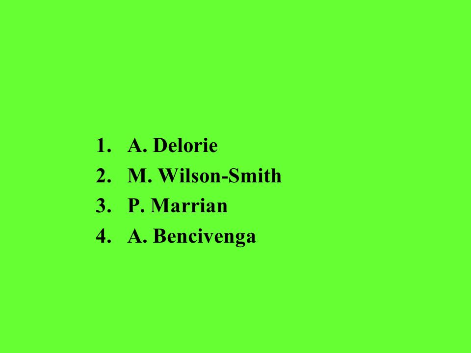 1.A. Delorie 2.M. Wilson-Smith 3.P. Marrian 4.A. Bencivenga