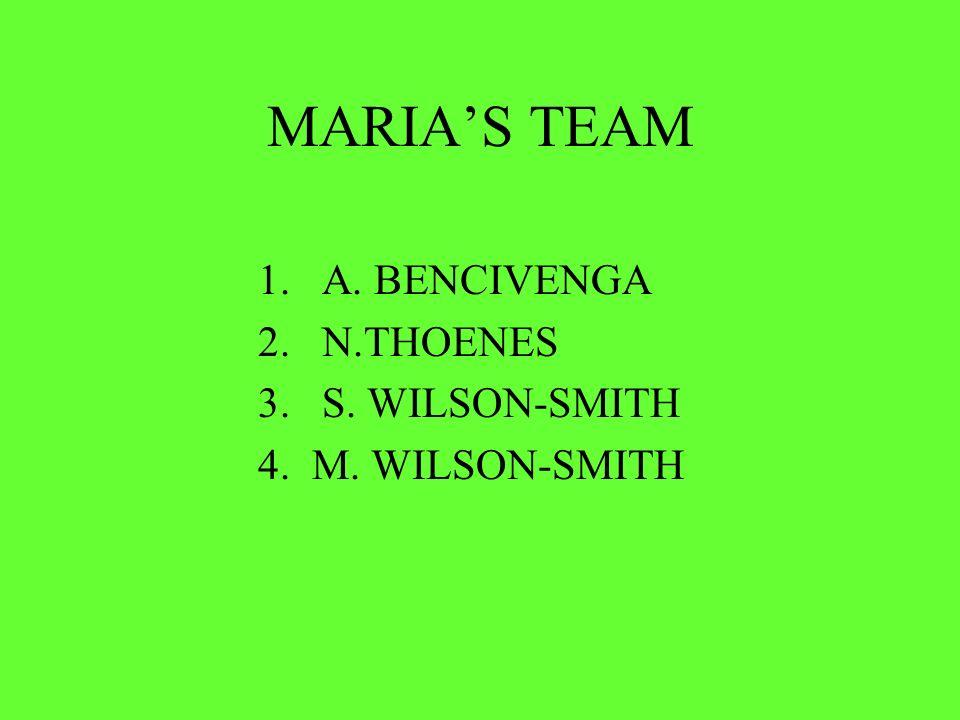 MARIAS TEAM 1.A. BENCIVENGA 2.N.THOENES 3.S. WILSON-SMITH 4. M. WILSON-SMITH