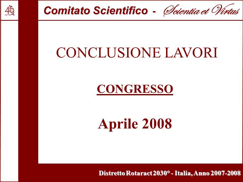 Distretto Rotaract 2030° - Italia, Anno 2007-2008 CONCLUSIONE LAVORI CONGRESSO Aprile 2008 Comitato Scientifico - Comitato Scientifico - Scientia et V