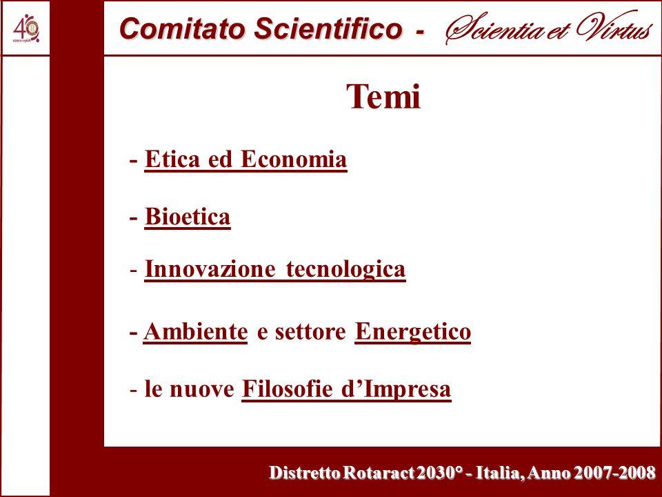 Temi - Etica ed Economia - Bioetica - Innovazione tecnologica - Ambiente e settore Energetico - le nuove Filosofie dImpresa Comitato Scientifico - Com