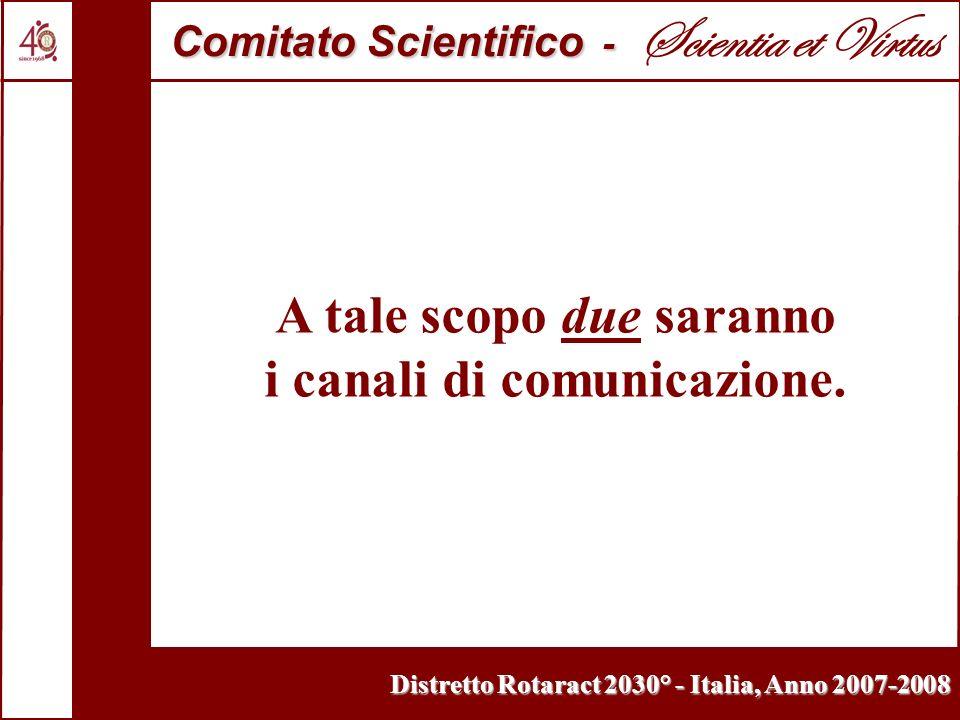 Distretto Rotaract 2030° - Italia, Anno 2007-2008 A tale scopo due saranno i canali di comunicazione. Comitato Scientifico - Comitato Scientifico - Sc