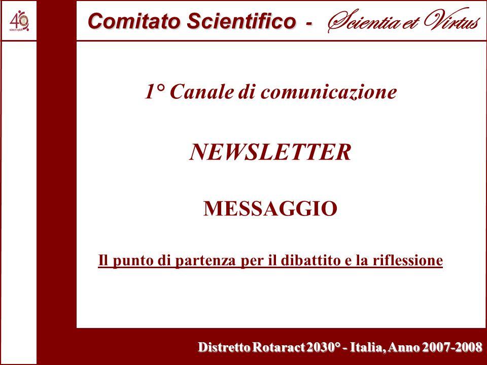 Distretto Rotaract 2030° - Italia, Anno 2007-2008 1° Canale di comunicazione NEWSLETTER MESSAGGIO Il punto di partenza per il dibattito e la riflessione Comitato Scientifico - Comitato Scientifico - Scientia et Virtus