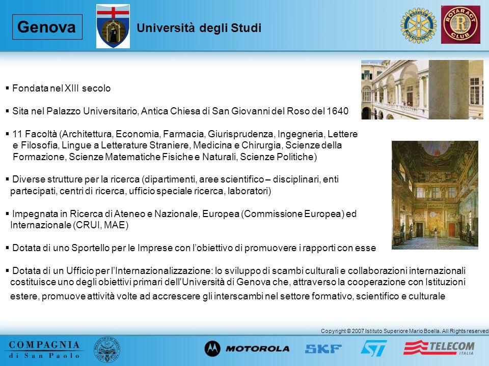 Copyright © 2007 Istituto Superiore Mario Boella. All Rights reserved. Genova Fondata nel XIII secolo Sita nel Palazzo Universitario, Antica Chiesa di