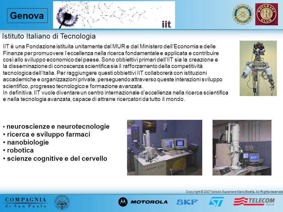 Copyright © 2007 Istituto Superiore Mario Boella. All Rights reserved. Genova IIT è una Fondazione istituita unitamente dal MUR e dal Ministero dellEc