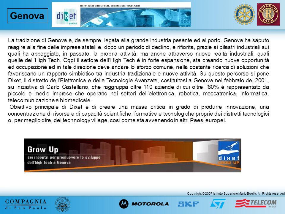 Copyright © 2007 Istituto Superiore Mario Boella. All Rights reserved. Genova La tradizione di Genova è, da sempre, legata alla grande industria pesan