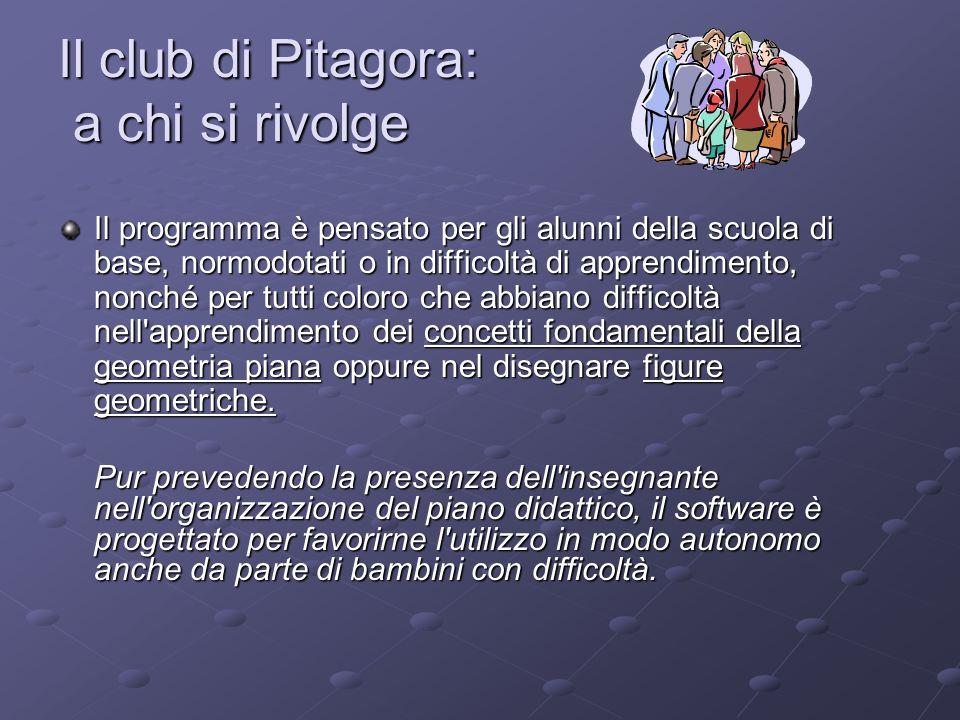 Il club di Pitagora: a chi si rivolge Il programma è pensato per gli alunni della scuola di base, normodotati o in difficoltà di apprendimento, nonché