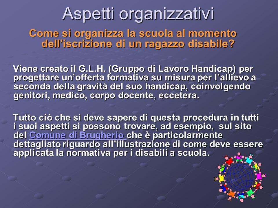 Aspetti organizzativi Come si organizza la scuola al momento delliscrizione di un ragazzo disabile? Viene creato il G.L.H. (Gruppo di Lavoro Handicap)