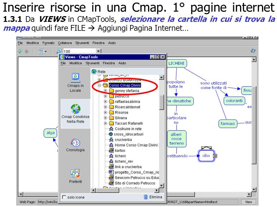 Inserire risorse in una Cmap. 1° pagine internet 1.3.1 Da VIEWS in CMapTools, selezionare la cartella in cui si trova la mappa quindi fare FILE Aggiun