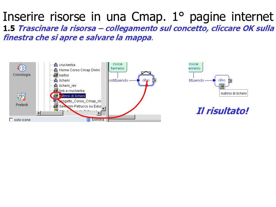 Inserire risorse in una Cmap. 1° pagine internet 1.5 Trascinare la risorsa – collegamento sul concetto, cliccare OK sulla finestra che si apre e salva