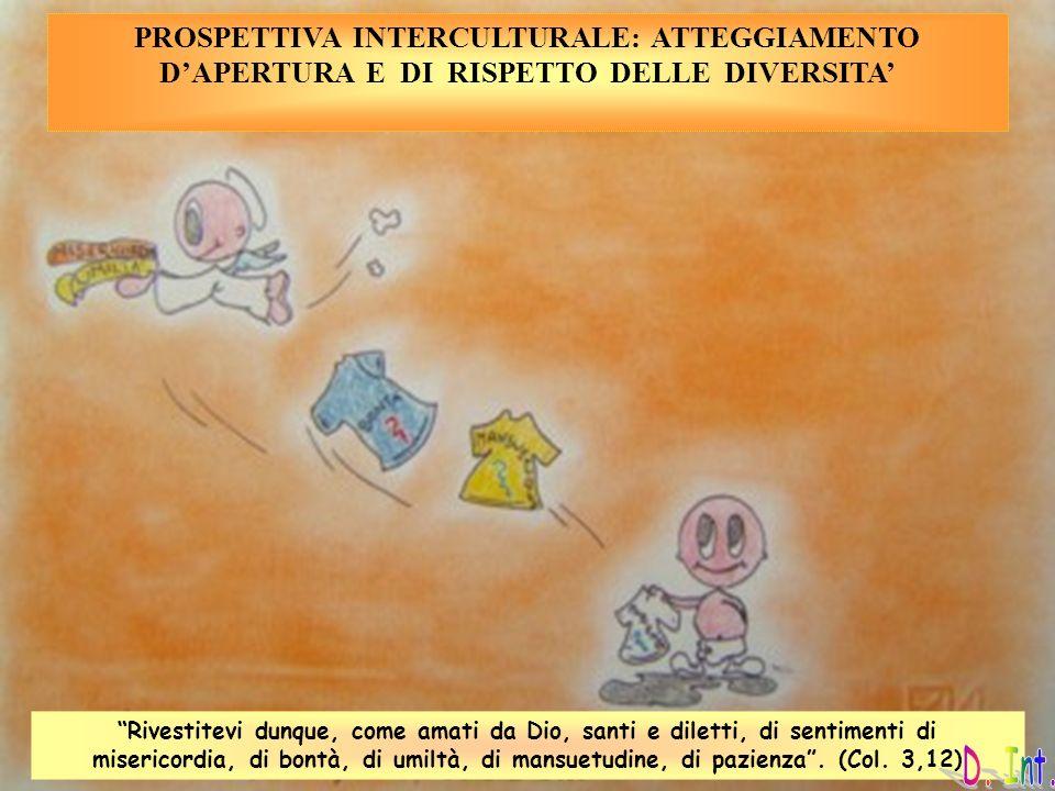 PROSPETTIVA INTERCULTURALE: ATTEGGIAMENTO DAPERTURA E DI RISPETTO DELLE DIVERSITA Rivestitevi dunque, come amati da Dio, santi e diletti, di sentiment