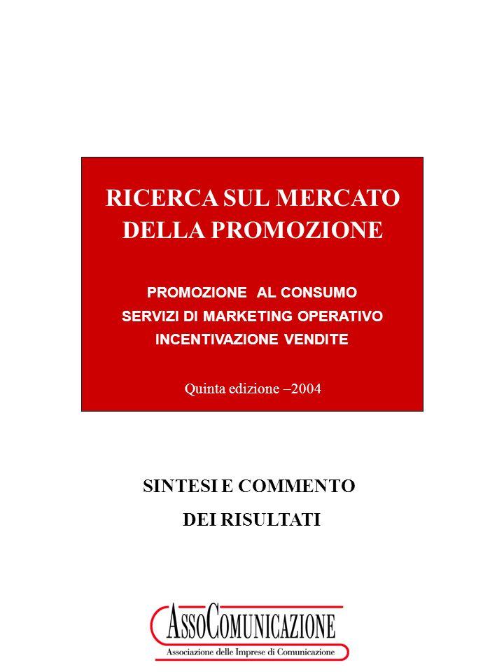 2 Il mercato complessivo Il mercato della promozione, dei servizi di marketing operativo e dellincentivazione nellanno 2003 ammonta complessivamente a 5.220 Mio di Euro e mostra una sostanziale tenuta rispetto al 2001 (- 1%) che, da un lato, riflette il periodo di congiuntura non favorevole e, dallaltro, pone il comparto in una situazione sensibilmente più positiva rispetto al mondo dei servizi di marketing il cui andamento nel biennio 2001-2003 è il seguente*: - pubblicità: - 9% - direct response: - 7% - sponsorizzazioni: - 7% - relazioni pubbliche: - 5% * FONTE: Il futuro della pubblicità